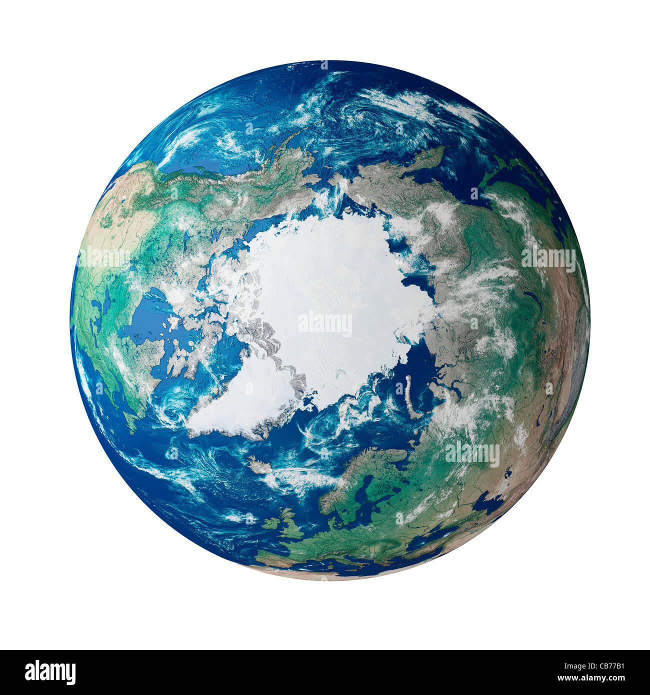 Globe montrant la région arctique sur la planète terre Photo Stock