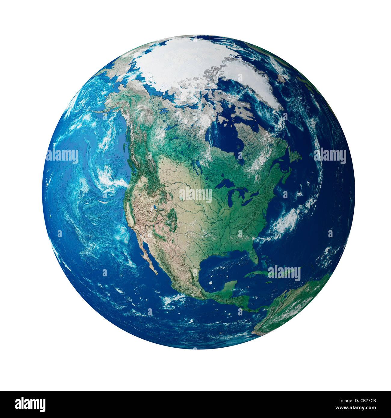 Globe montrant le continent de l'Amérique sur la planète terre Photo Stock