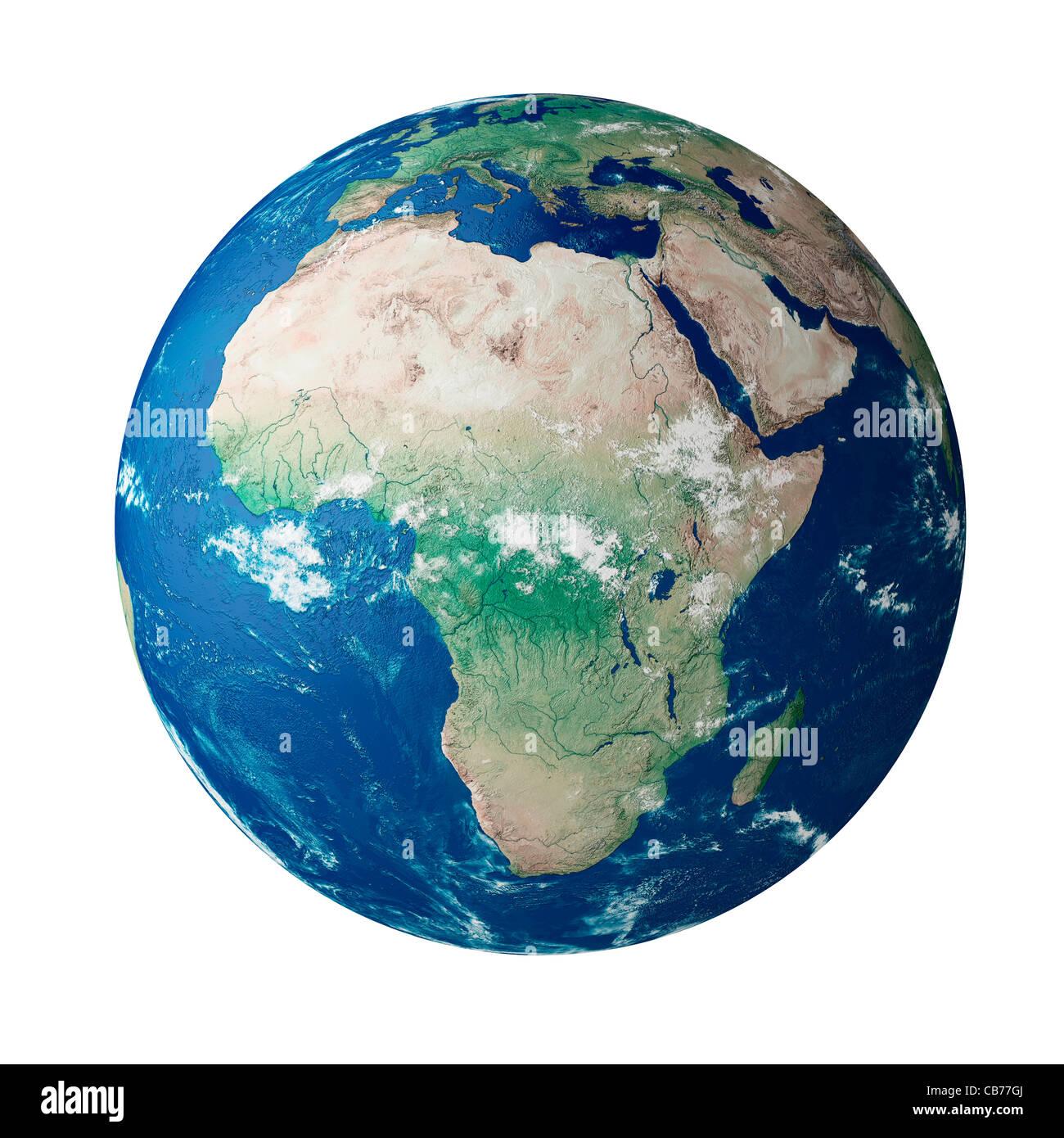 Globe montrant le continent de l'Afrique sur la planète terre Photo Stock