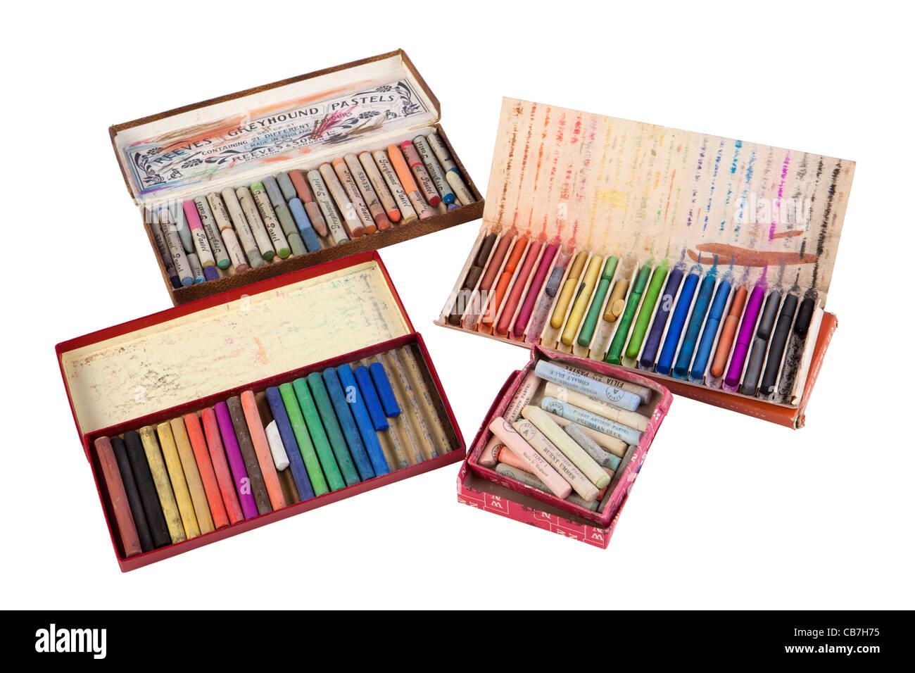 L'art, boîtes de couleurs pastels craie artistes utilisé Banque D'Images