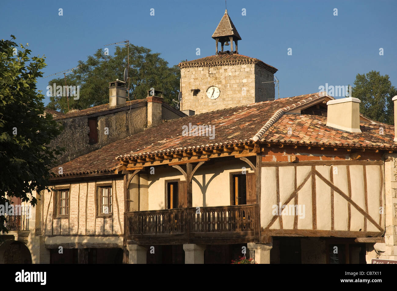 Elk196-1739 France, Aquitaine, Fources, architecture traditionnelle Photo Stock