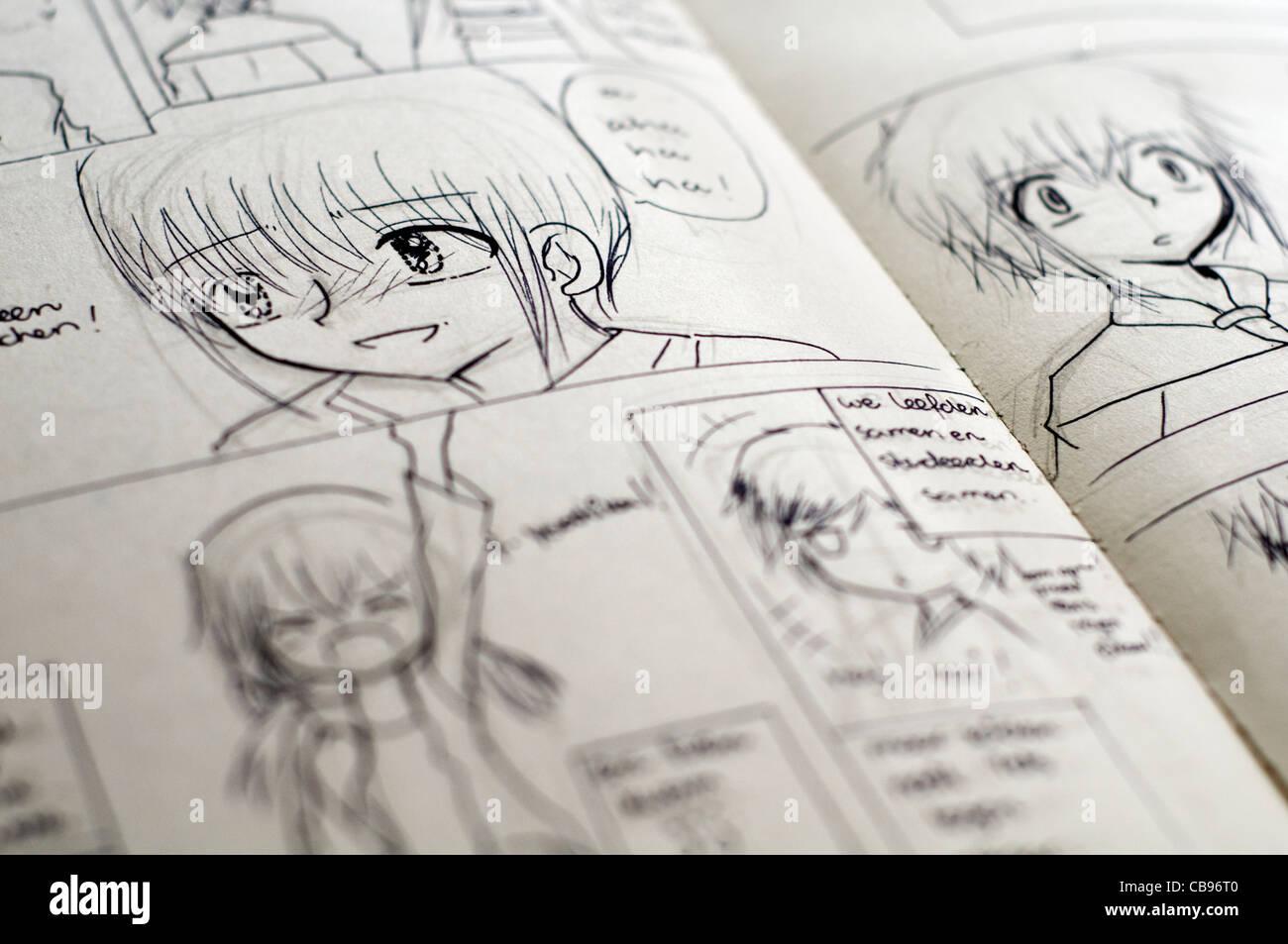 Détail De Noir Et Blanc De Style Japonais Manga Dessins Dans