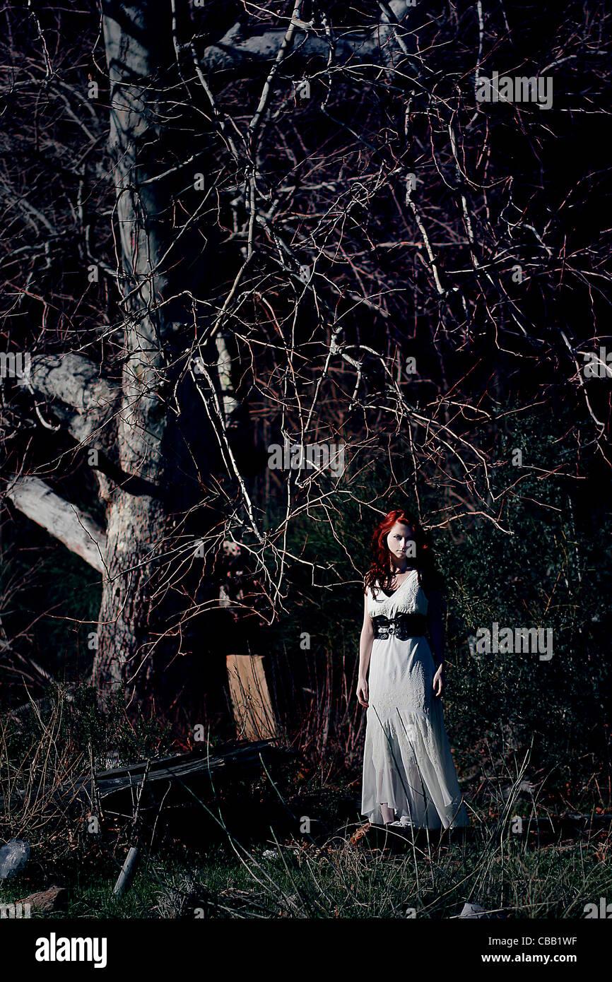 Une jeune fille en robe blanche debout sous un grand arbre seul la nuit Photo Stock
