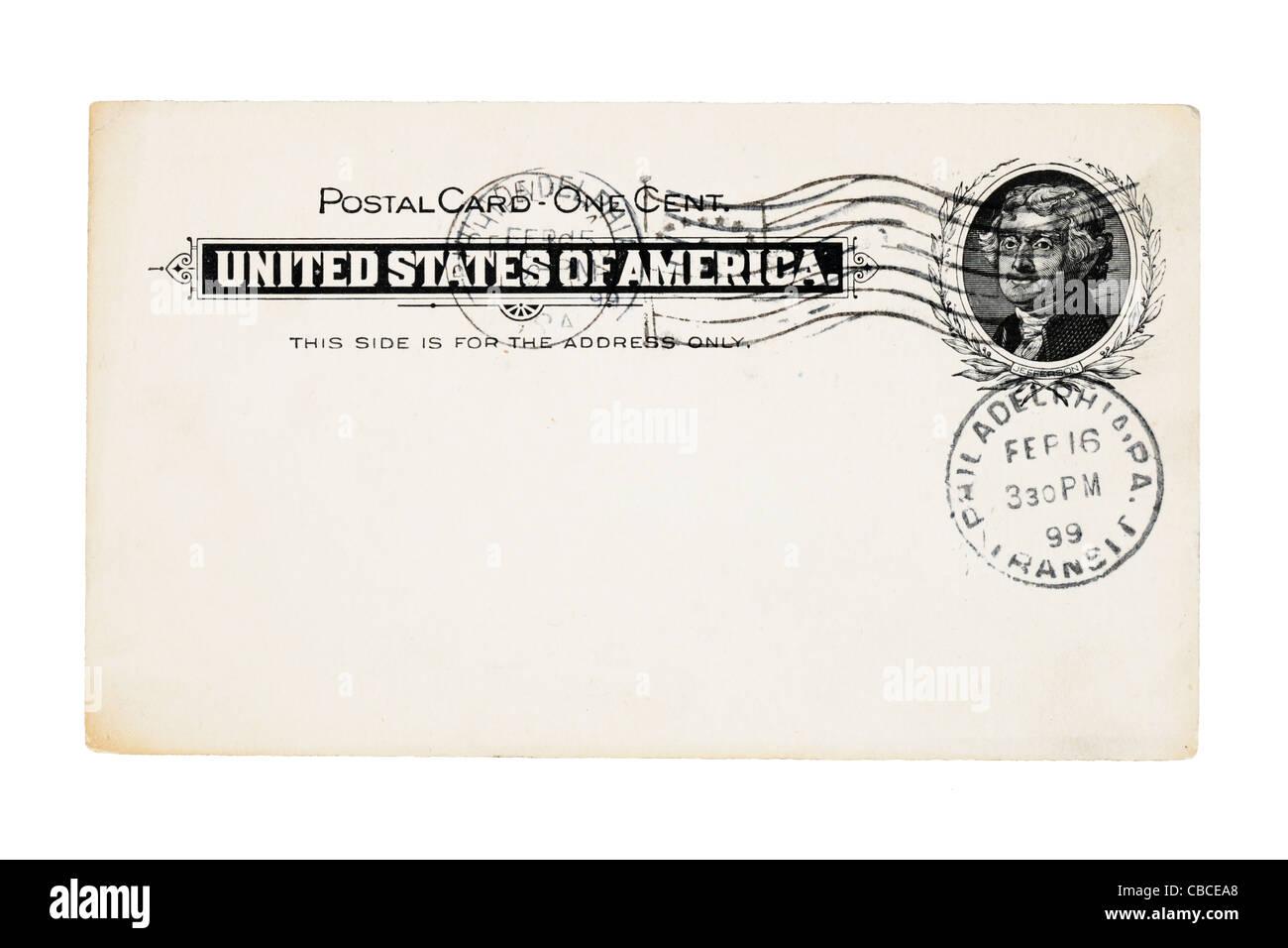 1899 Carte postale ancienne annulé des États-Unis avec un cent stamp isolé sur fond blanc Photo Stock