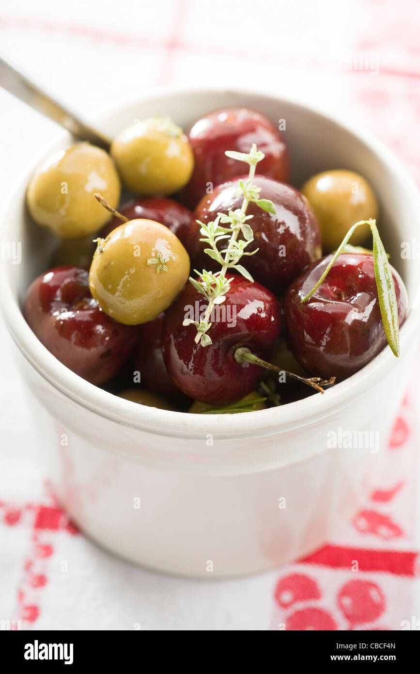 Cerises-Olives Photo Stock