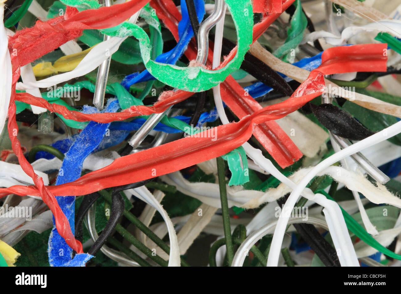 Macro image d'utilisé et d' attaches attaches de câbles Photo Stock