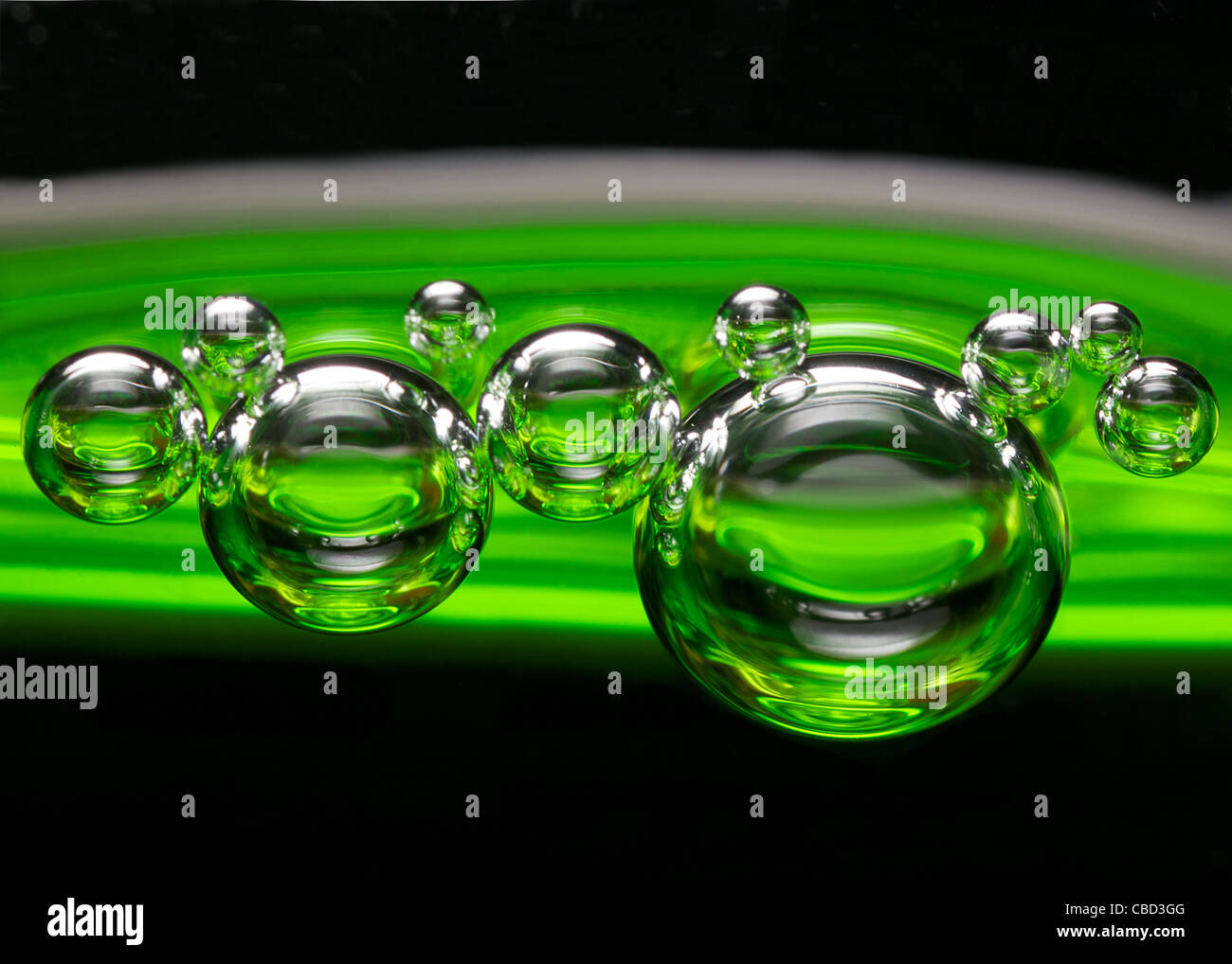 Green fizz up close Photo Stock