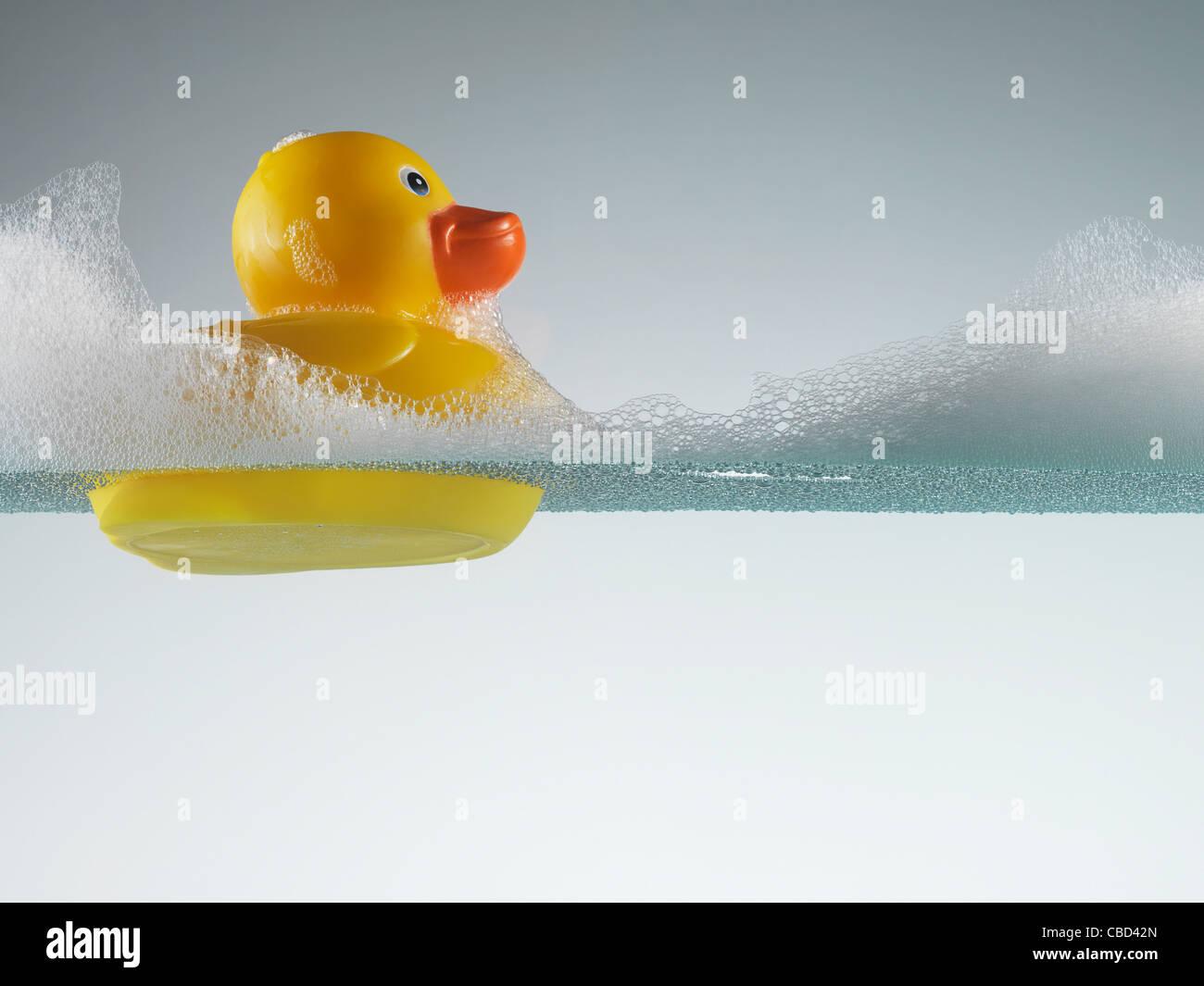 Canard en caoutchouc flottant dans l'eau savonneuse Photo Stock
