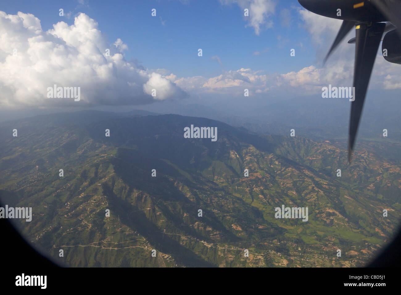 Photographie aérienne de la Vallée de Kathmandu, Népal, Asie, Photo Stock