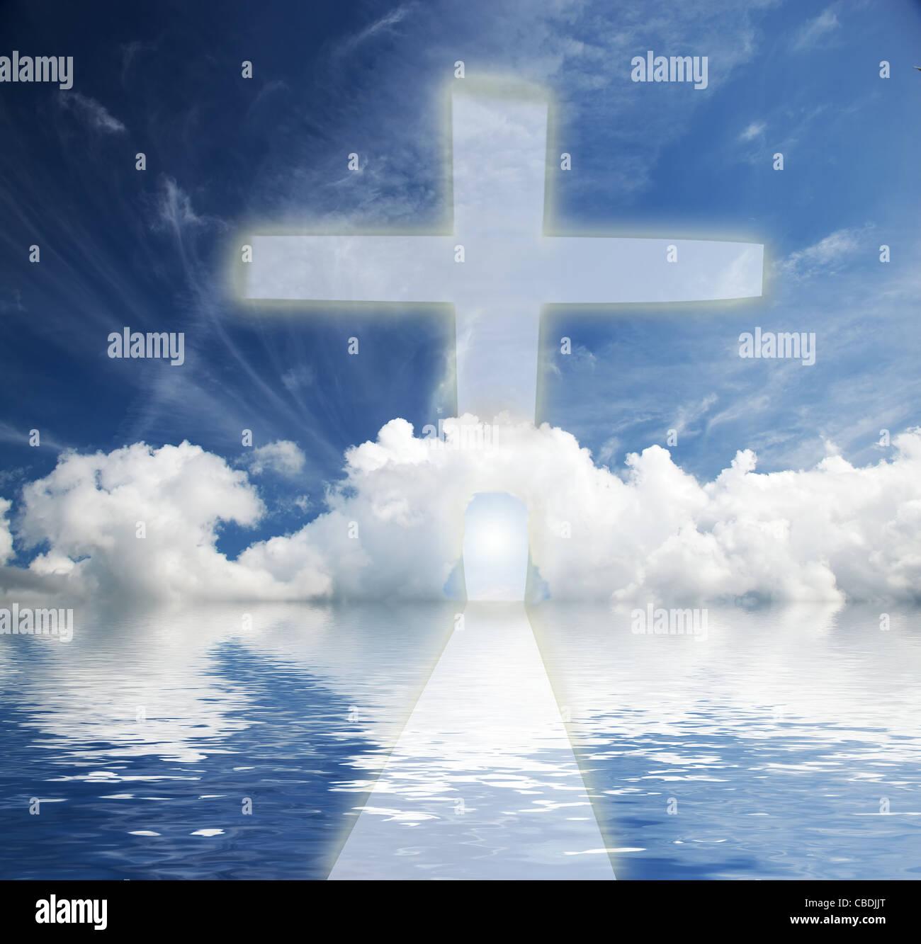 Le chemin du ciel - un ciel, la religion, le nouveau concept de la vie Photo Stock
