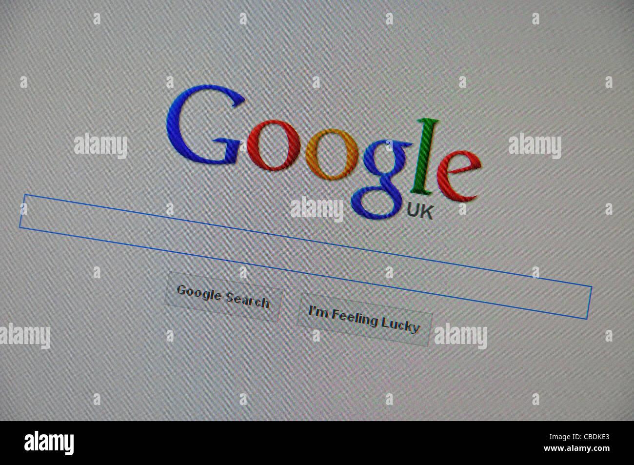 La page de recherche Google sur l'écran d'ordinateur, Greater London, Angleterre, Royaume-Uni Photo Stock