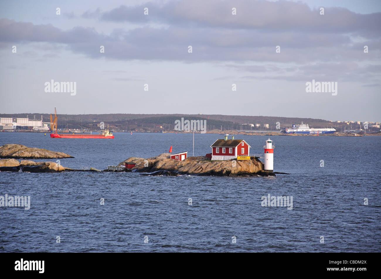 Phare à l'entrée du port de Göteborg, Göteborg, västergötland & Bohuslän Photo Stock