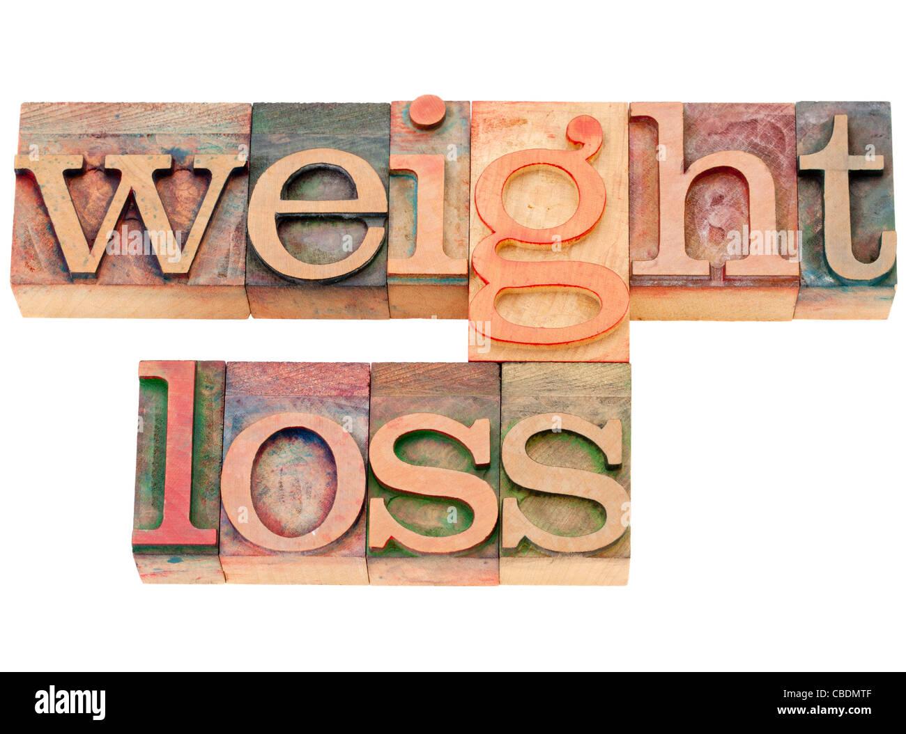 Perte de poids - des mots isolés en bois vintage type letterpress Photo Stock