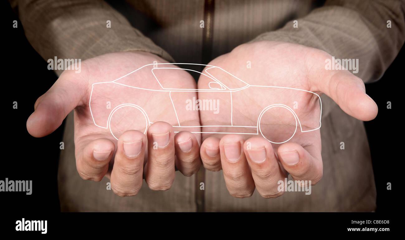 Line-art voiture dans la main de l'homme Photo Stock