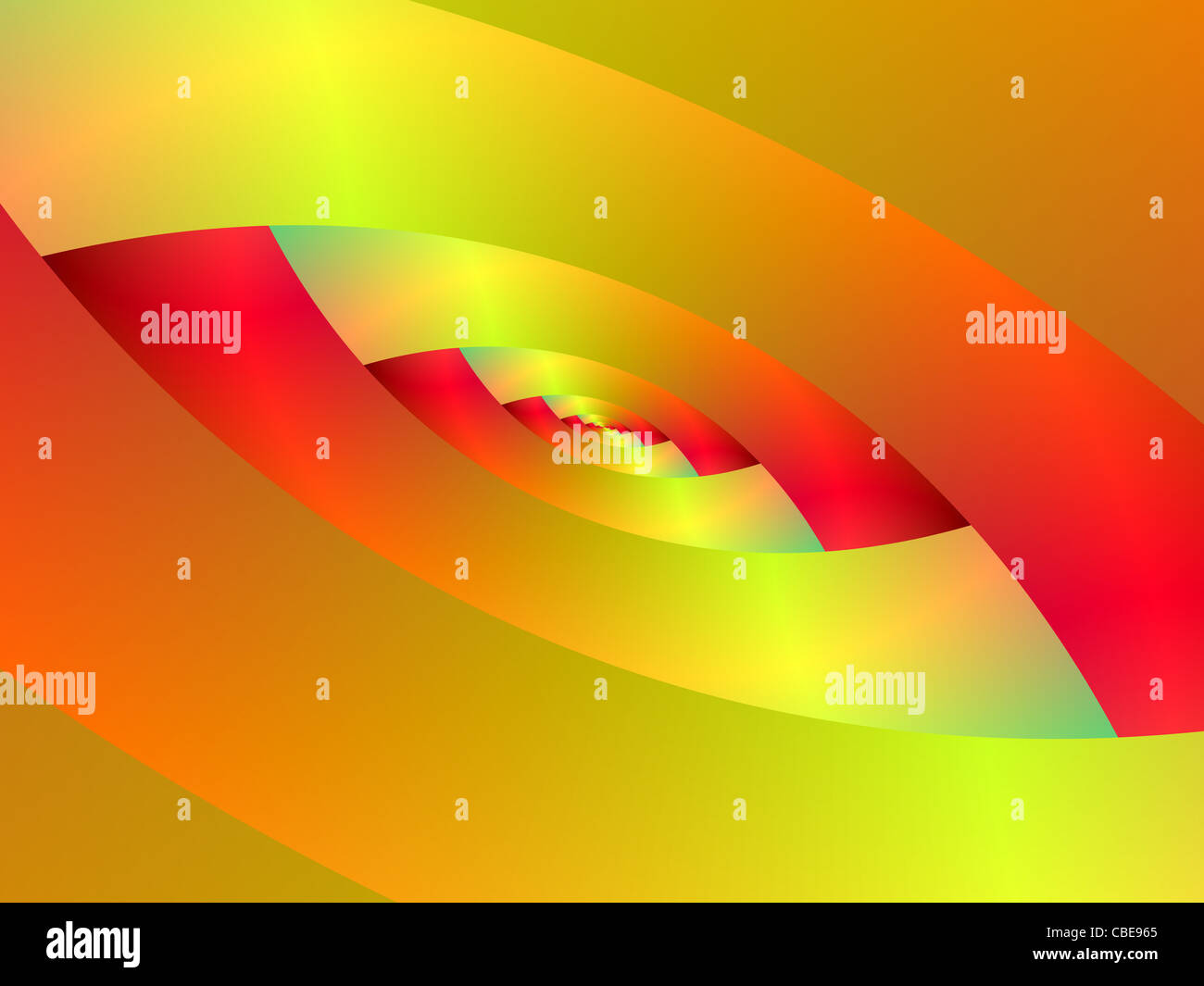Ellipse spirale rouge et jaune Photo Stock