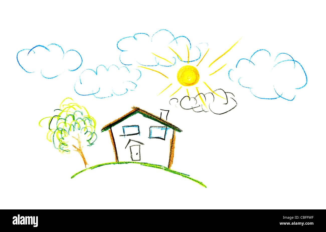 Dessin D Une Chambre D Enfant dessin d'enfant de leur chambre. le style de dessin crayon