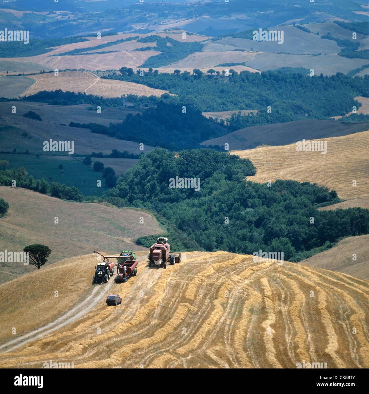 Céréales matériel roulant des terres agricoles dans l'Volterra, Italie, avec des moissonneuses Photo Stock