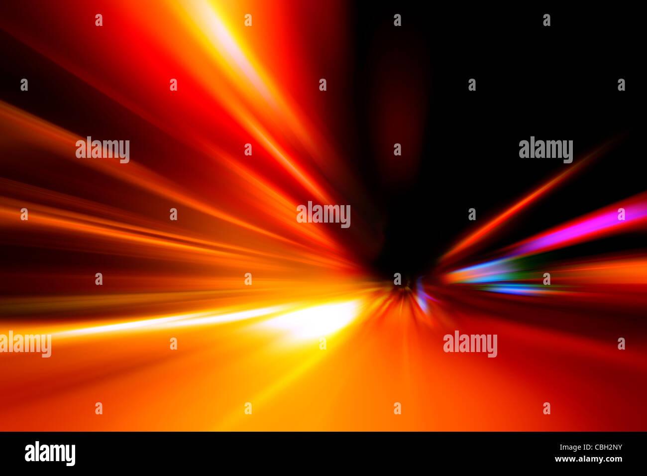Vitesse d'accélération motion sur la route de nuit Photo Stock