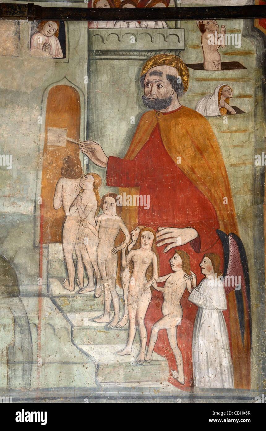 Touche ou Stairway To Heaven, fresque murale ou peinture, chapelle des Pénitents Blancs (1492), La Tour, Alpes Photo Stock