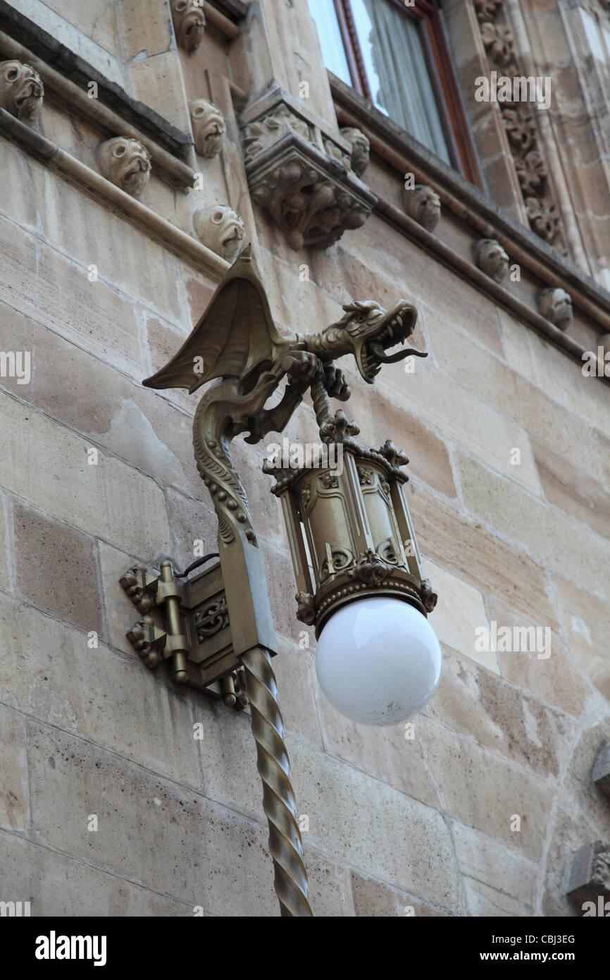 Lampe ornés, Palacio Postal, bureau de poste Palace, le centre historique, la ville de Mexico, Mexique Photo Stock