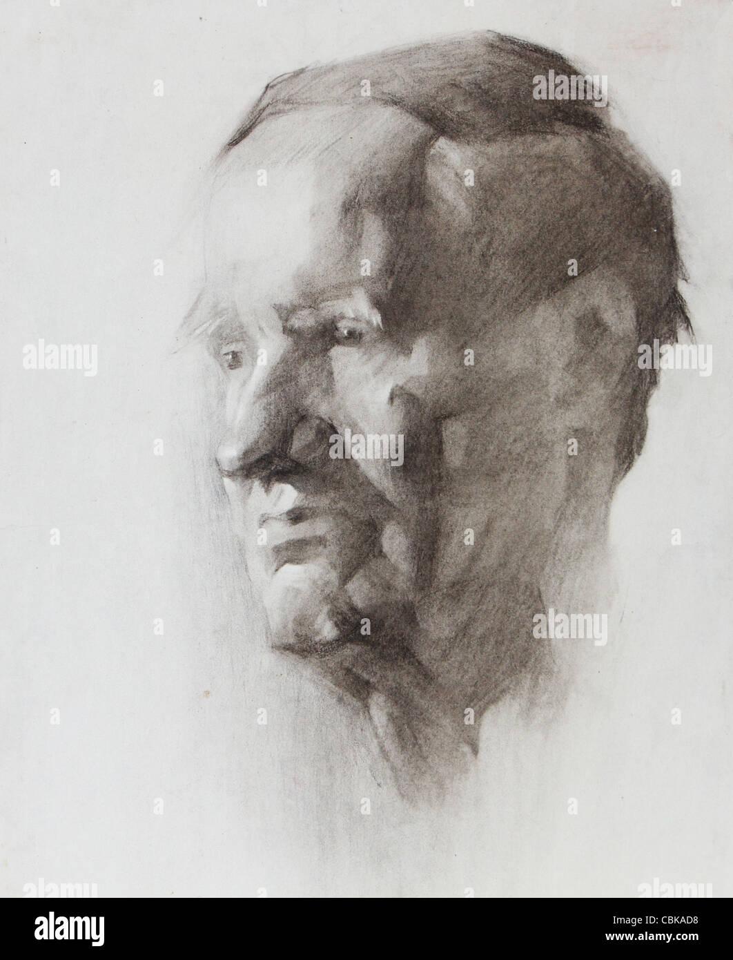 Image portrait d'un vieil homme peint par crayon Photo Stock