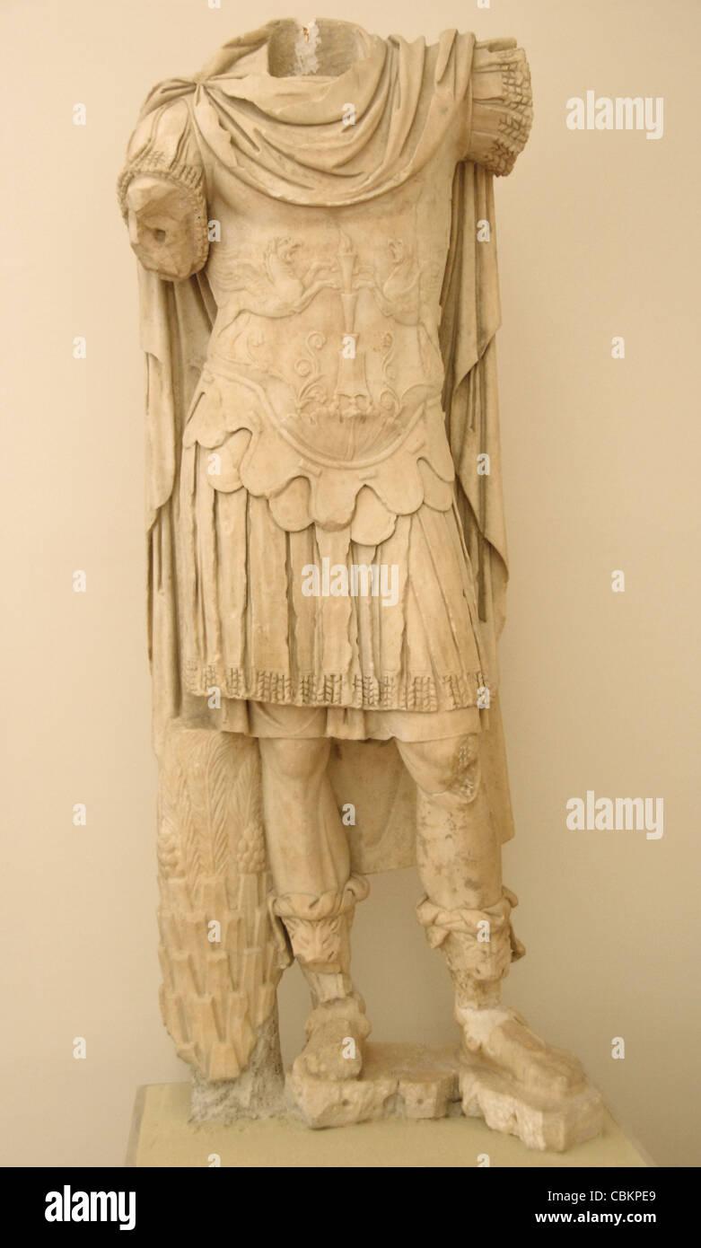 Marc Aurèle (121-180 d.C). Philosophe et empereur romain Antonine dynastie (161-192). Statue sans tête. Photo Stock