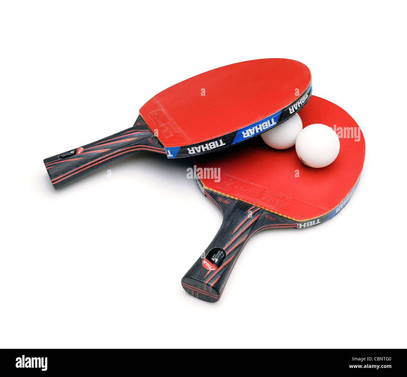 Raquette de Tennis de table et boules, Cut Out. Photo Stock