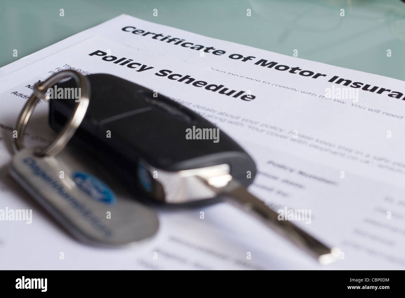 UK certificat d'assurance automobile, assurance auto, l'annexe de la politique Photo Stock