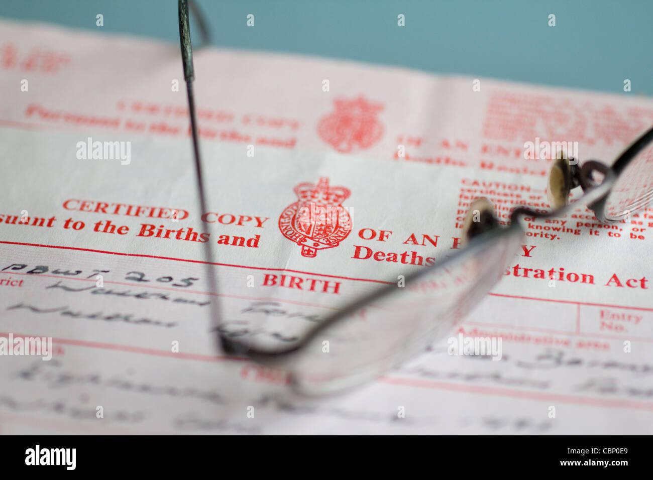 Certificat de naissance au Royaume-Uni Photo Stock