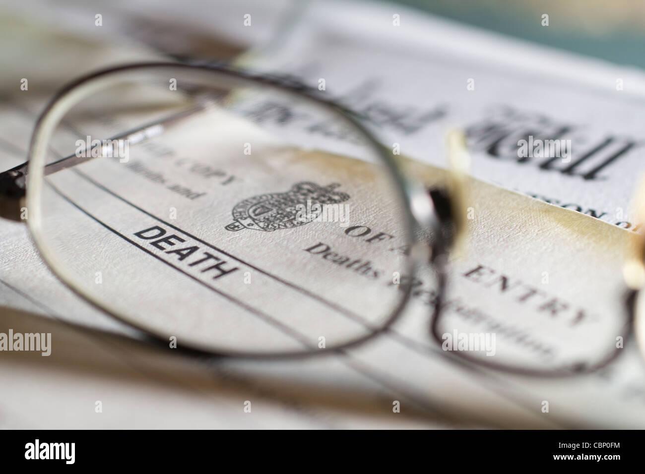 Royaume-uni Royaume-uni formulaire Certificat de décès Photo Stock