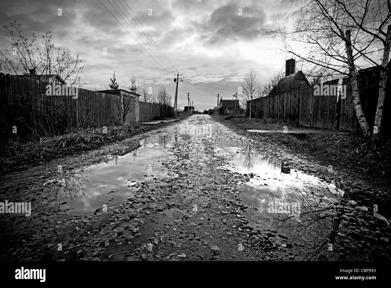 Saison des pluies. Images rurales. B&W le traitement. Photo Stock