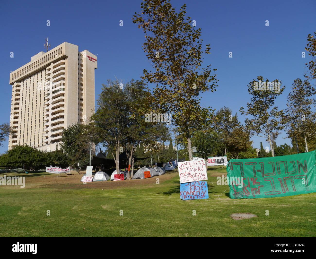 Camp de protestation anti-pauvreté à Jérusalem Photo Stock