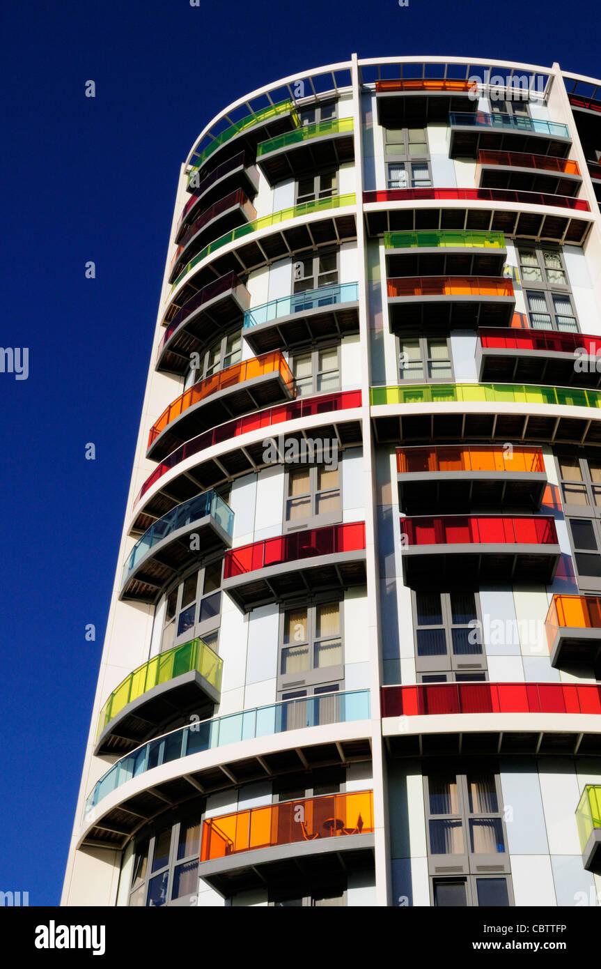 Appartement coloré Bloc, Stratford, London, England, UK Photo Stock