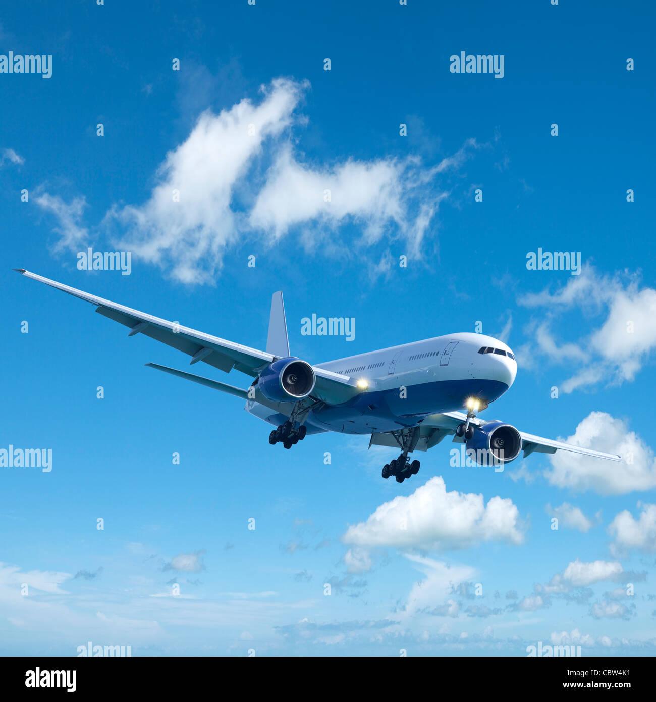 Vol en avion à réaction. La composition carrée. Photo Stock