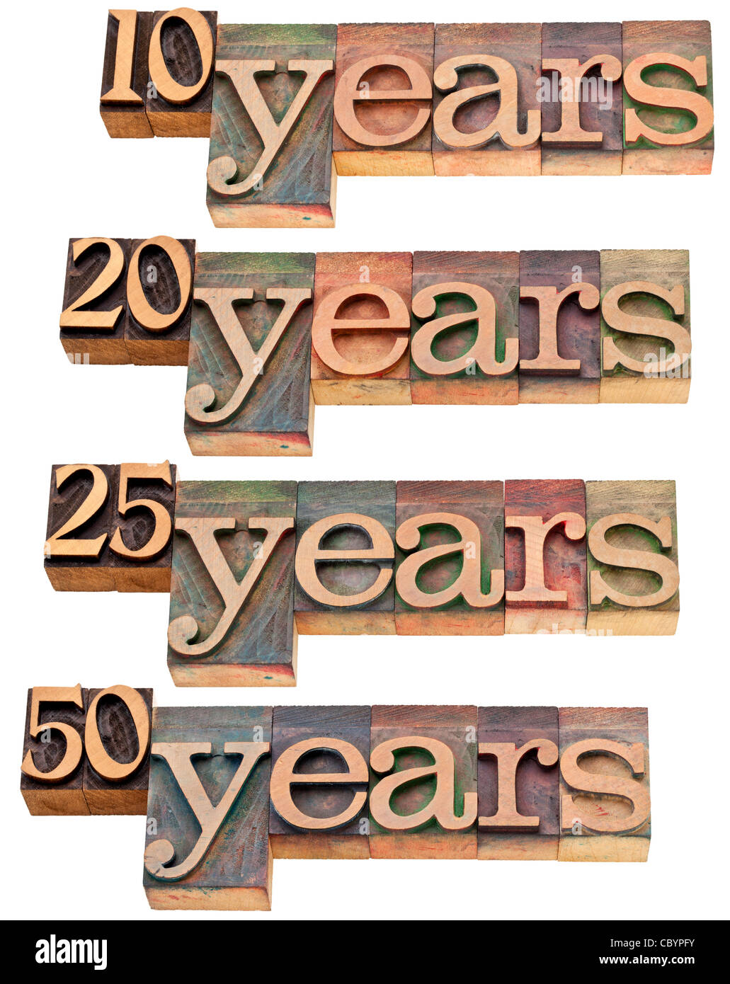Anniversaire concept - 10, 20 ,25, 50 ans - isolé du texte dans la typographie vintage wood blocks tachés Photo Stock