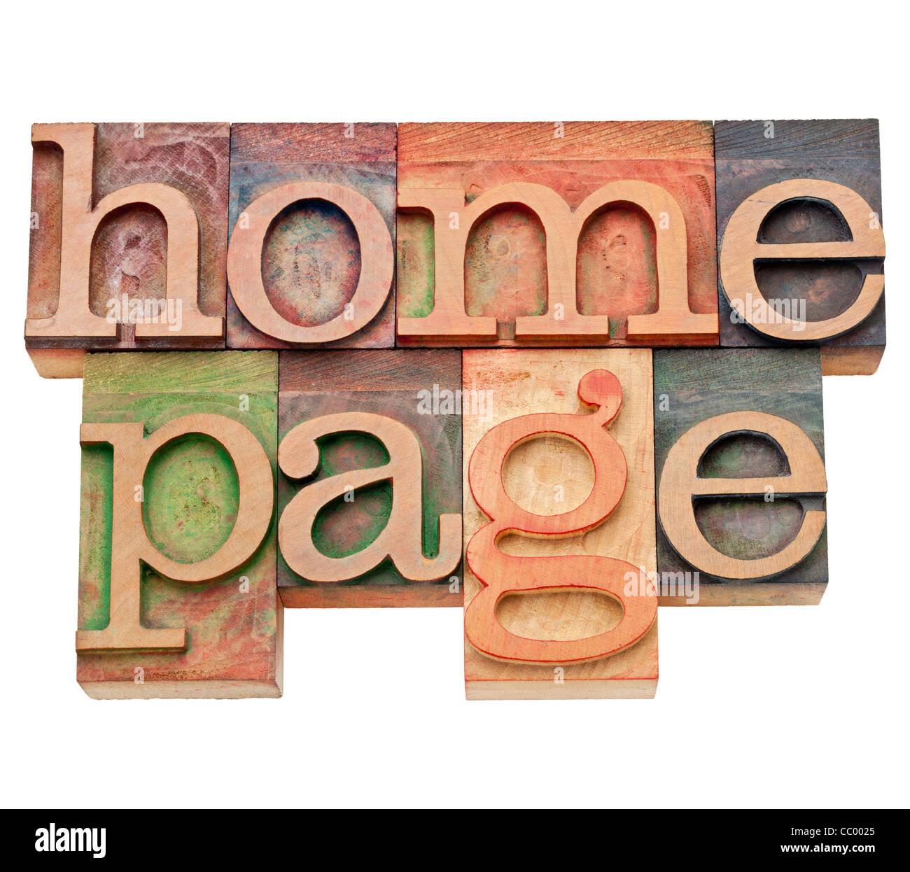 Home page - internet concept - texte isolé en bois vintage type typogravure, tachée par les encres couleur Photo Stock