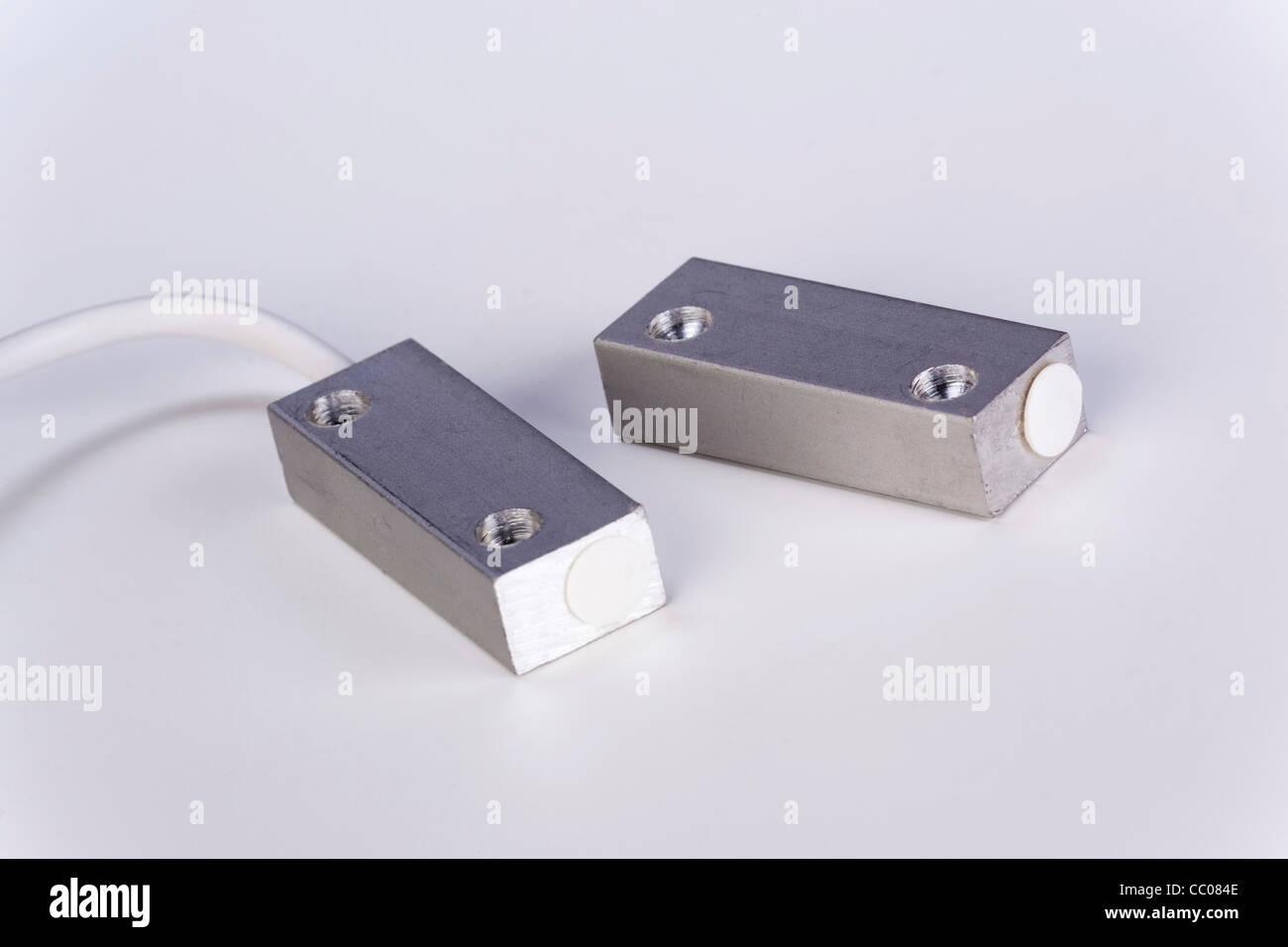 L'interrupteur Reed magnétique de l'aimant et du capteur Photo Stock