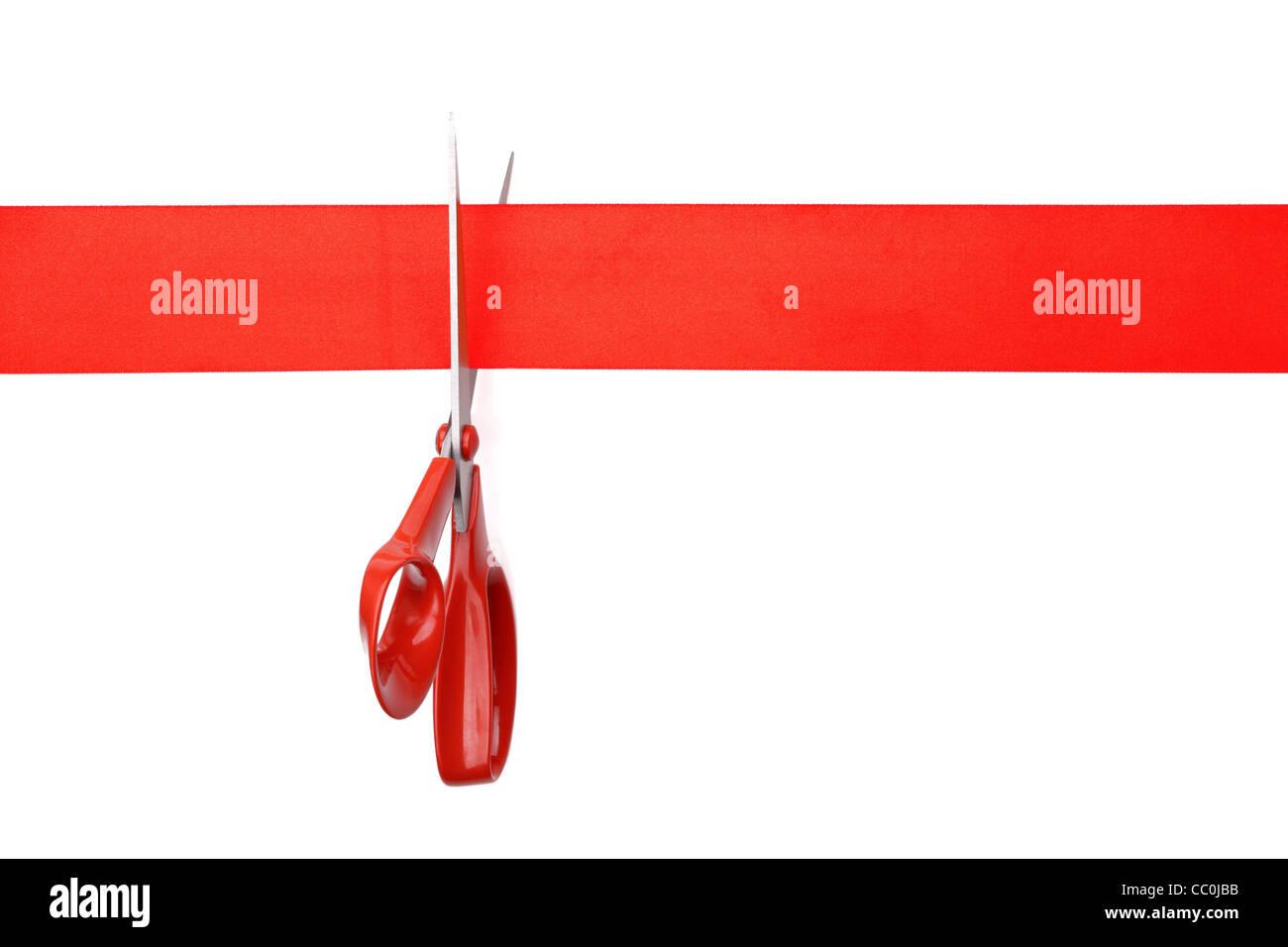 Couper le ruban rouge Photo Stock