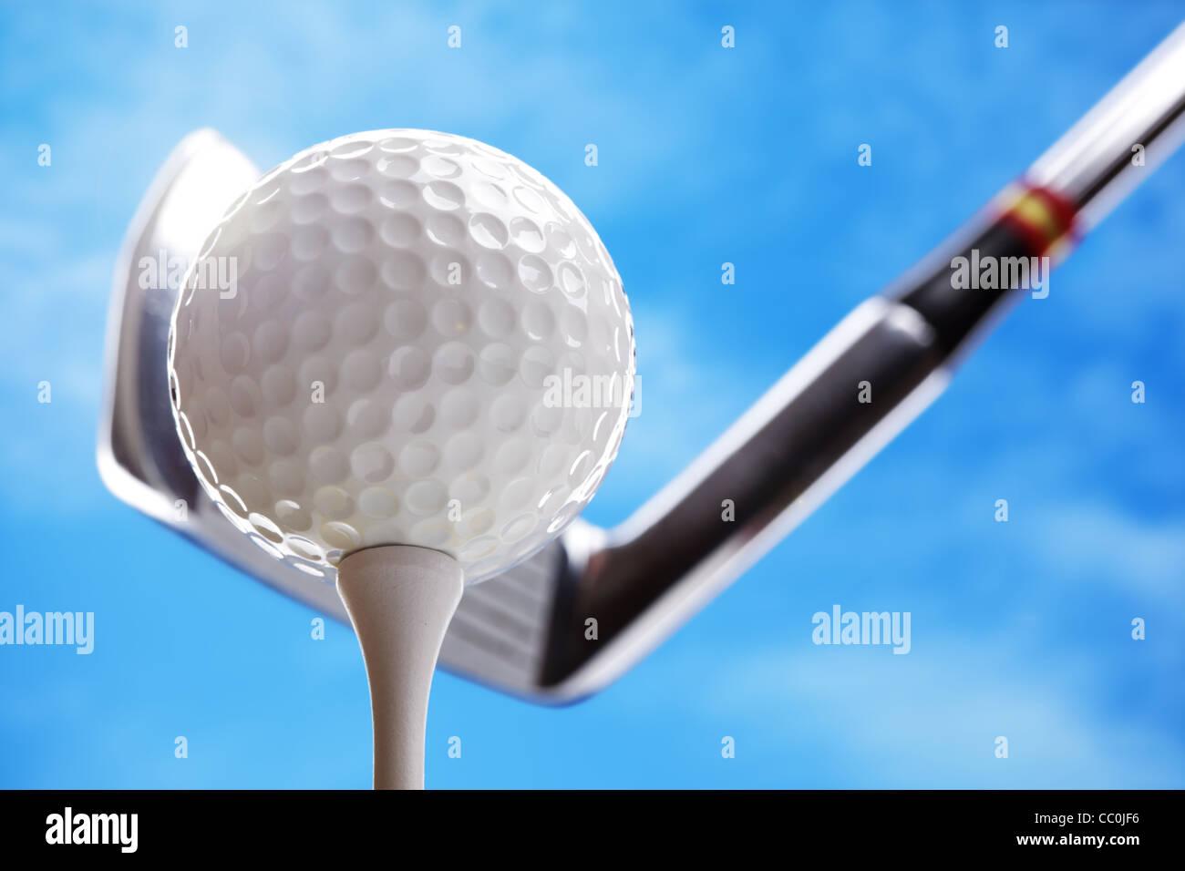 Balle de golf et club Photo Stock