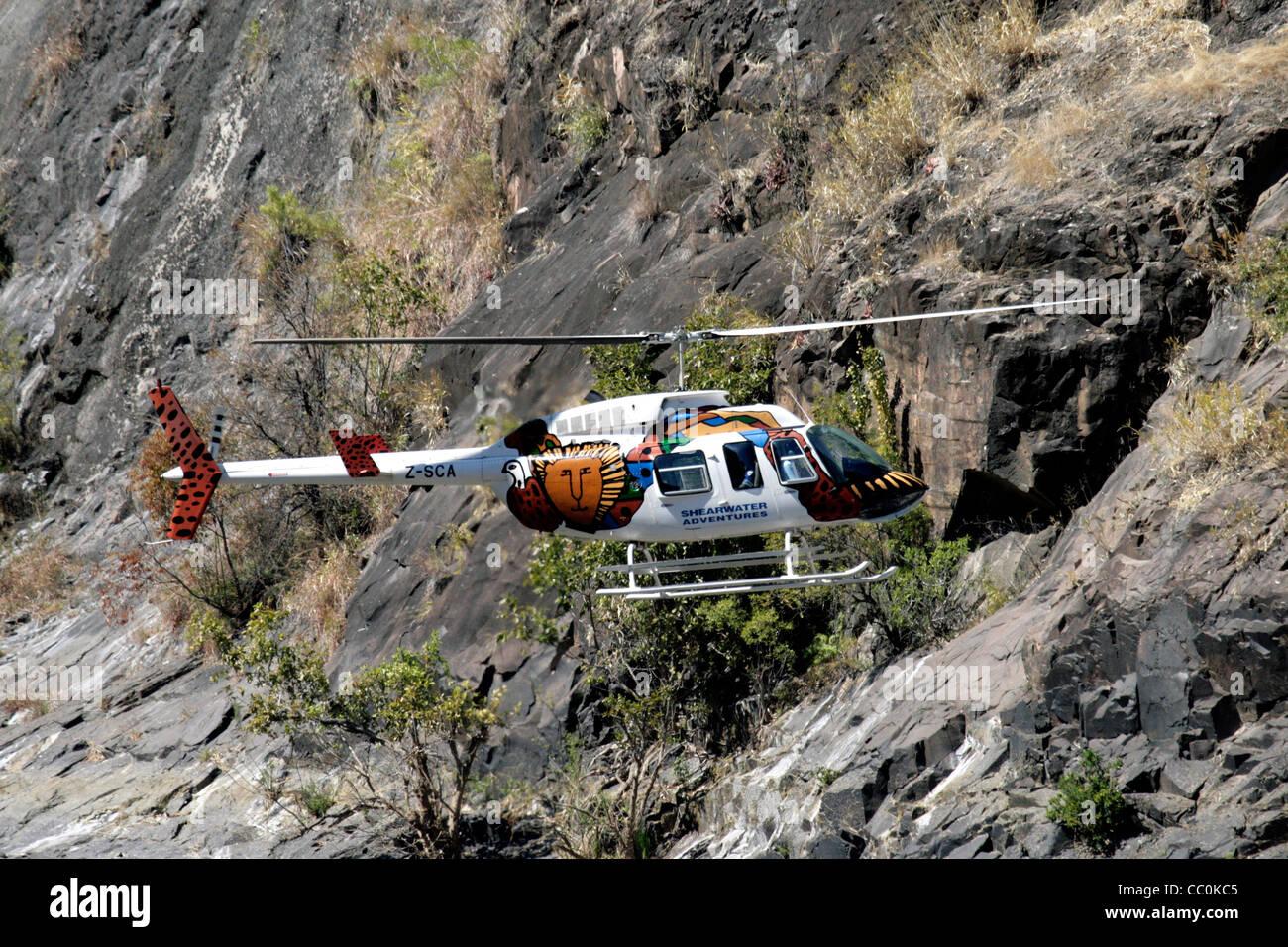Sauvetage par hélicoptère de gorges (Zimbabwe/Zambie) Photo Stock
