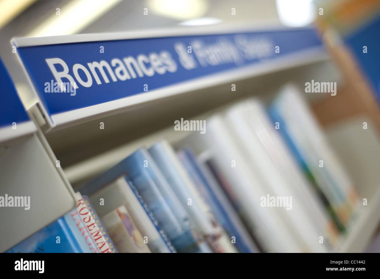 L'affichage de la bibliothèque de sagas familiales Romances Photo Stock