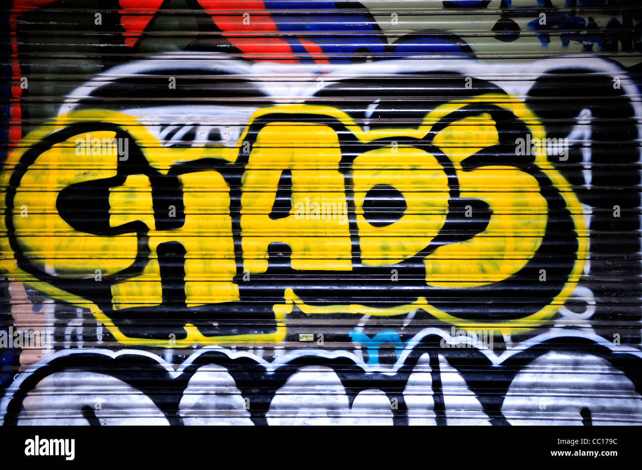 "Barcelone, Espagne. Graffiti - ""Chaos"" Photo Stock"