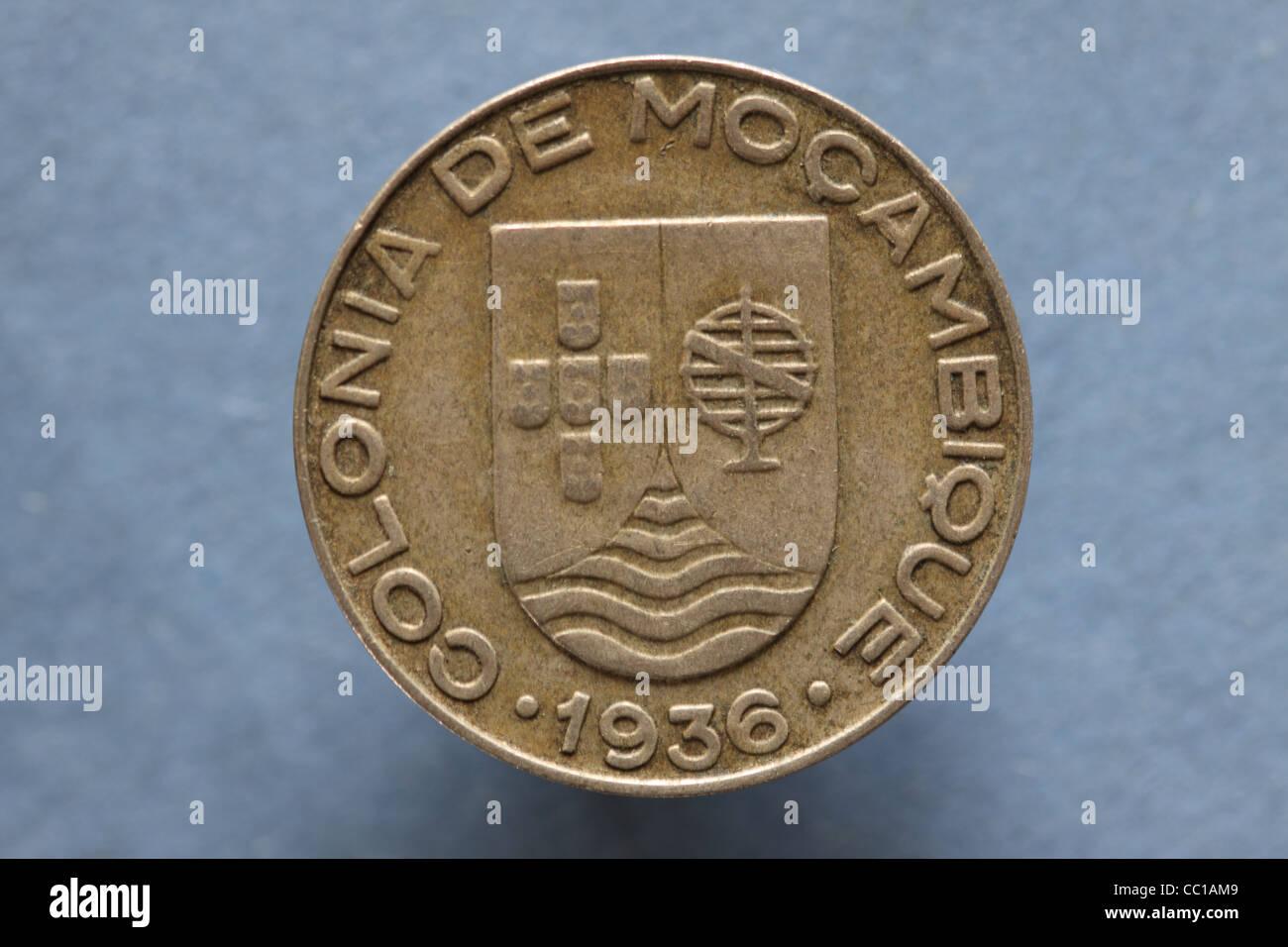Colonia de Mocambique coin daté 1936, une colonie de l'Afrique de portugais au Mozambique indépendant Photo Stock