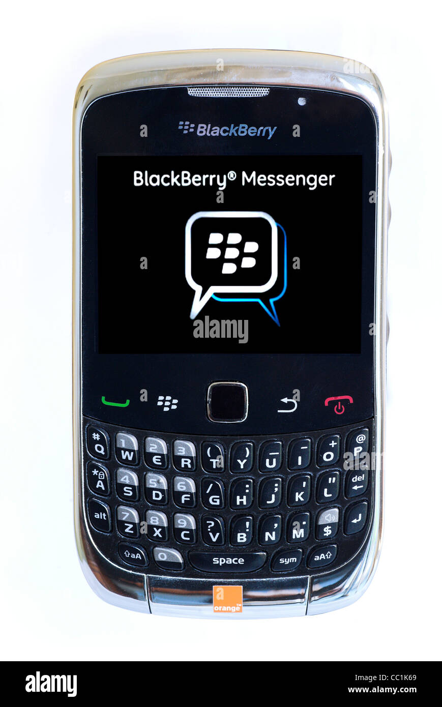 Smartphone Blackberry Curve Blackberry Messenger écran montrant Photo Stock