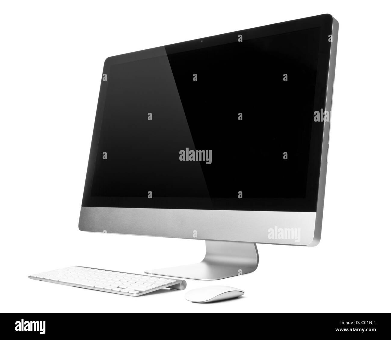 Ordinateur de bureau avec clavier et souris sans fil, sur fond blanc Photo Stock