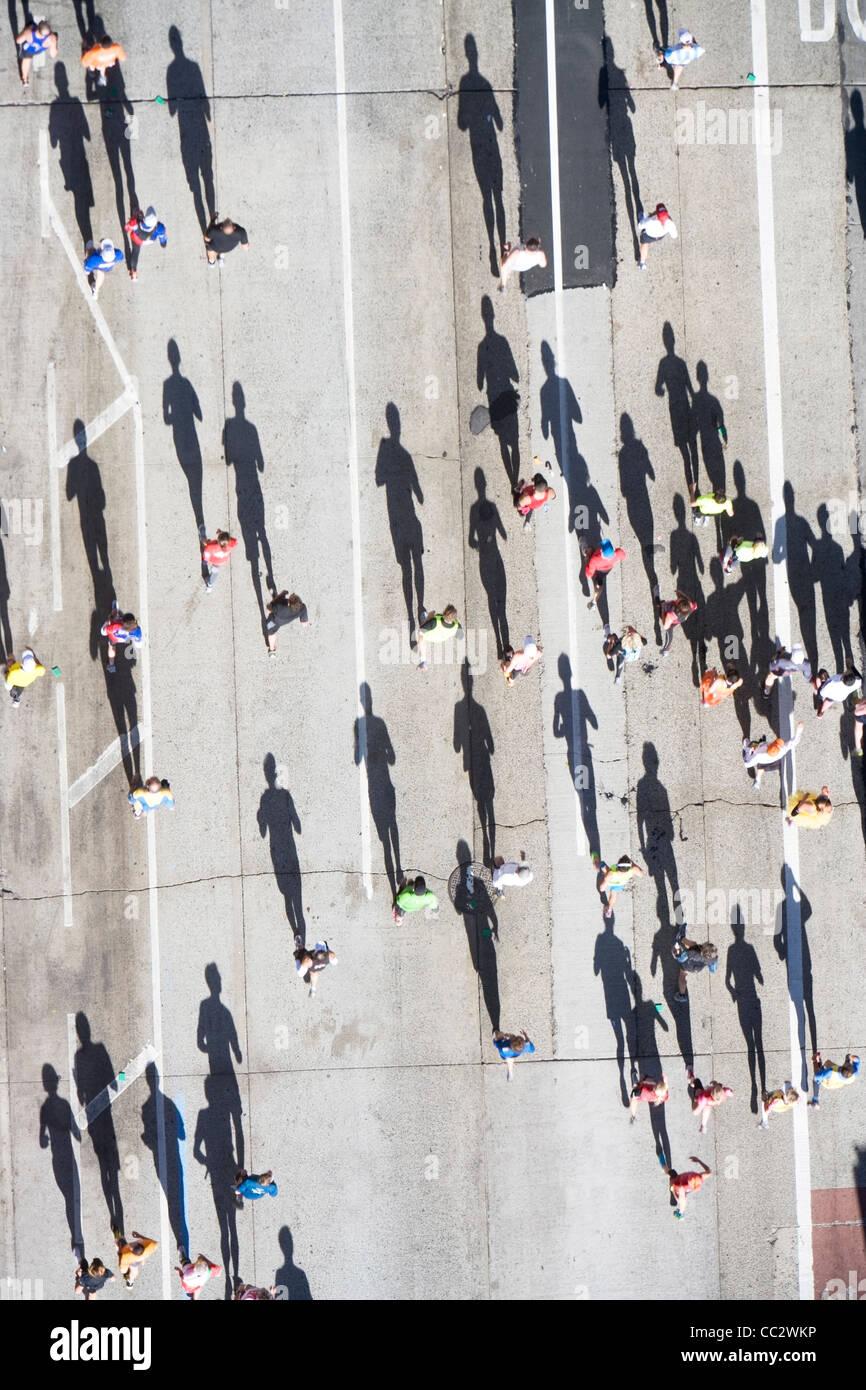 USA, New York City, New York City Marathon comme vu du dessus Photo Stock