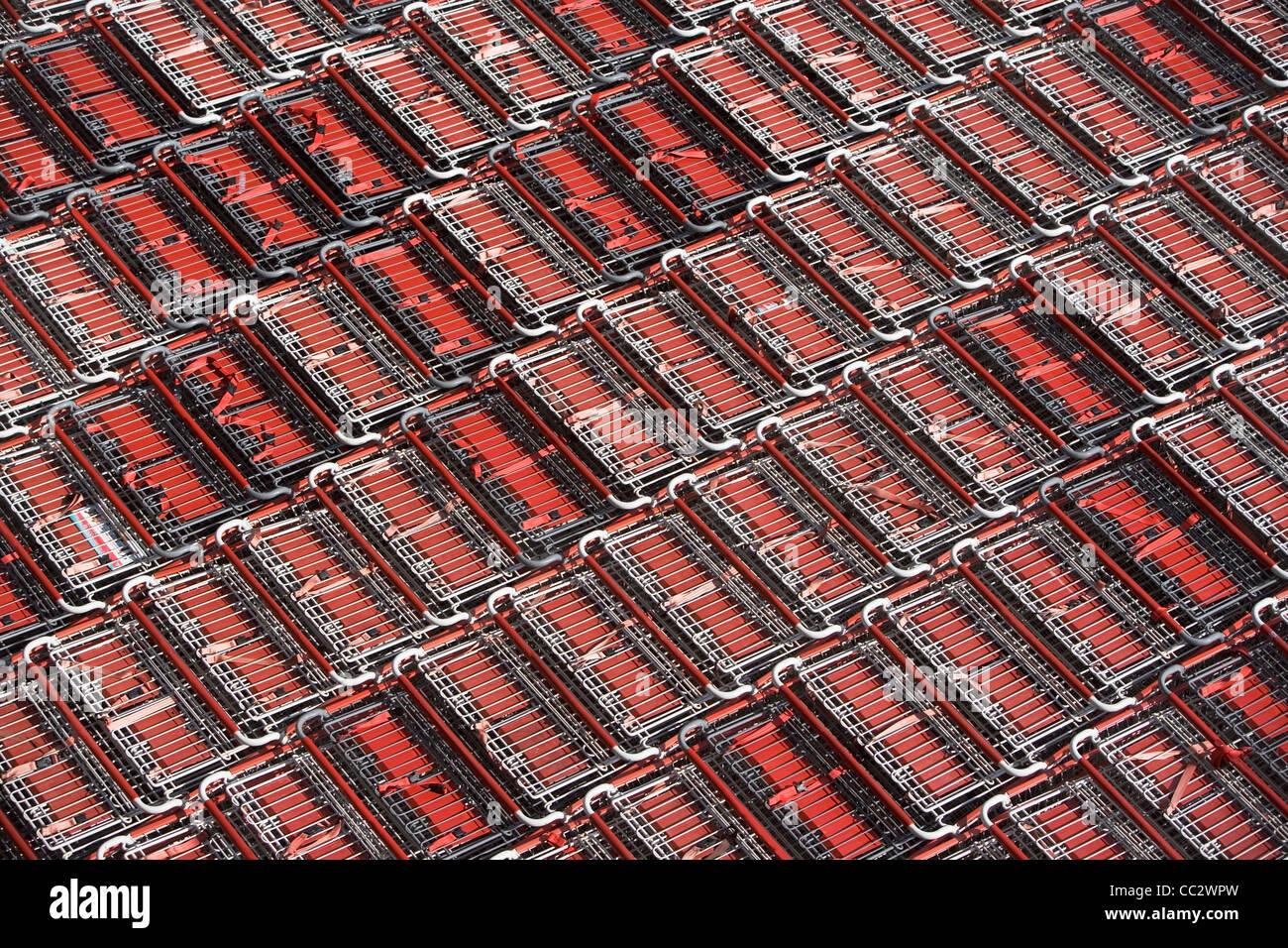 USA, New York City, Full Frame shot de chariots de supermarché Photo Stock