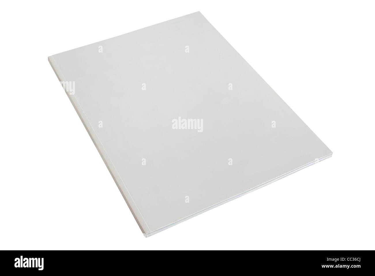 Brochure ou magazine papier blanc vierge dummy isolé sur fond blanc Photo Stock