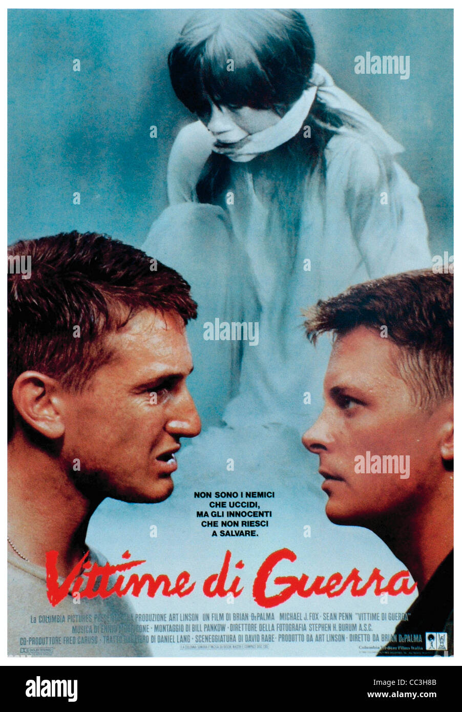 Cinéma: les victimes de la guerre réalisateur Brian De Palma 1989 Poster Photo Stock