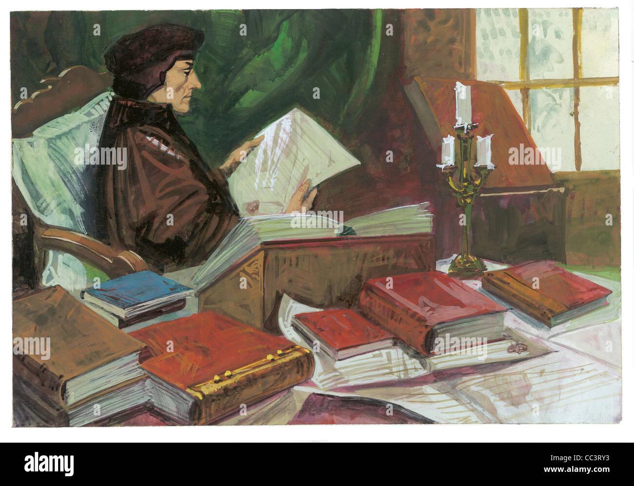 Pays-bas, xvie siècle. Erasme de Rotterdam (1469-1539), humaniste et théologien - Peinture Café Photo Stock
